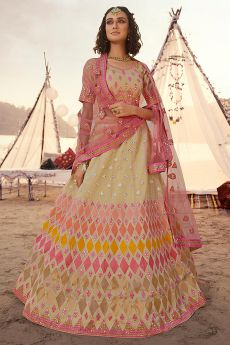 Designer Multicolored Mirror Embellished Lehenga Choli in Organza Silk