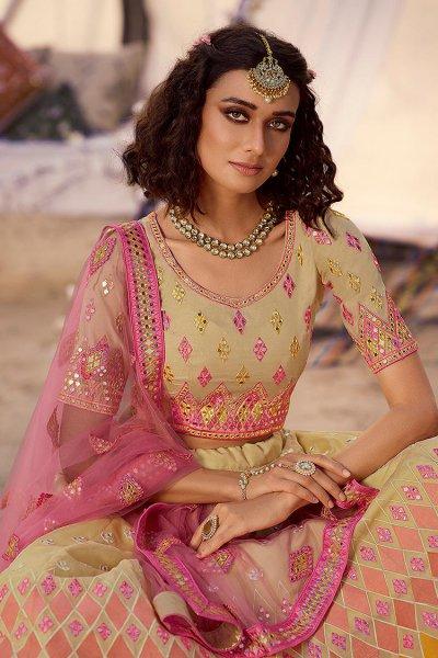 Designer Multicolored Mirror Embellished Lehenga Choli in Organza Silk