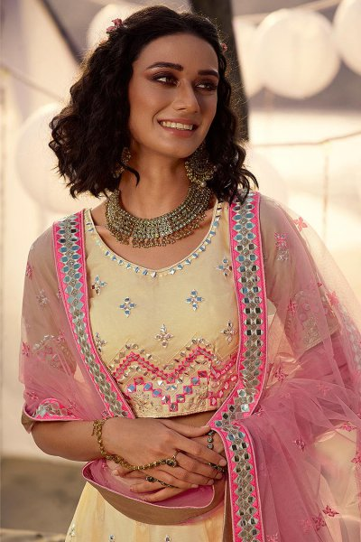 Pale Yellow and Pink Mirror Embellished Organza Silk Lehenga Choli