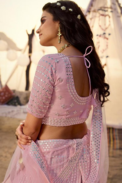 Baby Pink Mirror Embellished Organza Silk Lehenga Choli