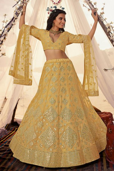 Bright Yellow Mirror Embellished Organza Silk Lehenga