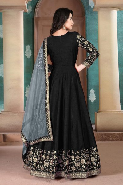 Beautiful Black Embroidered Anarkali Suit in Silk