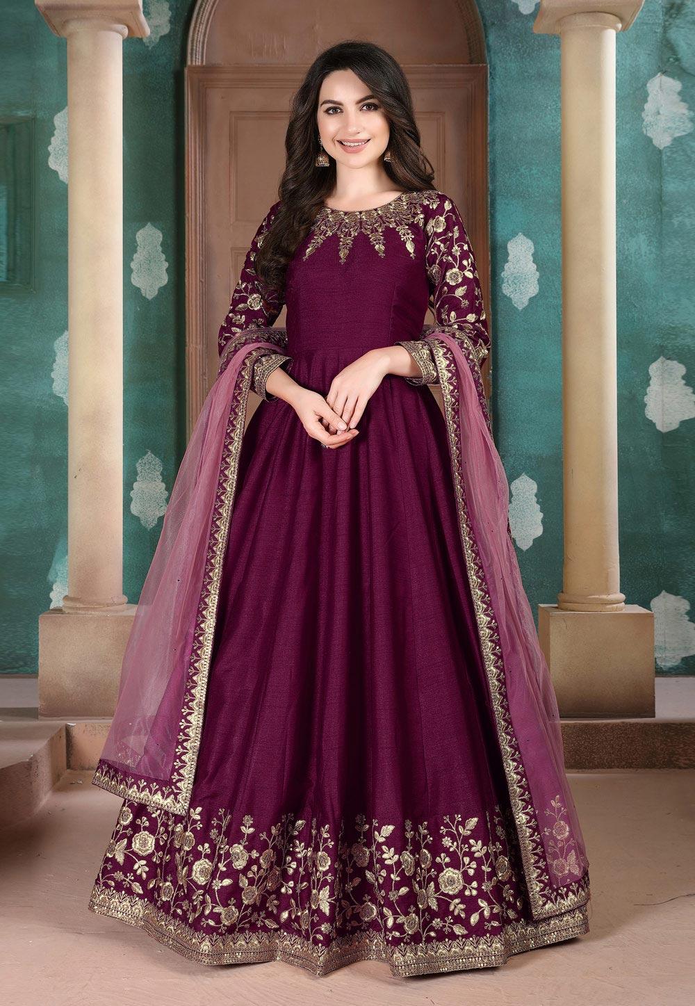 Beautiful Wine Embroidered Anarkali Suit in Silk