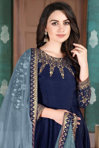 Beautiful Blue Embroidered Anarkali Suit in Silk