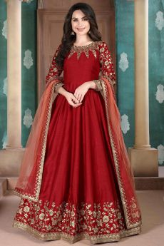 Beautiful Red Embroidered Anarkali Suit in Silk