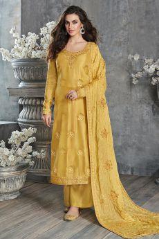 Yellow Jacquard Weaved Dola Silk Palazzo Suit