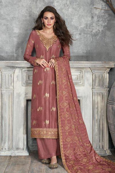 Pinkish Brown Jacquard Weaved Dola Silk Palazzo Suit