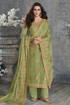 Kiwi Green Jacquard Weaved Dola Silk Palazzo Suit