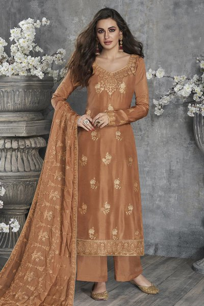Almond Brown Jacquard Weaved Dola Silk Palazzo Suit