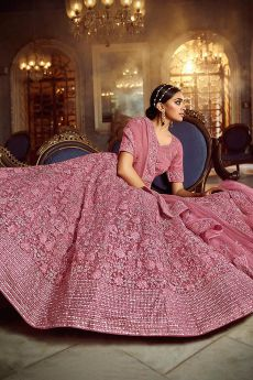 Pink Resham Embroidered Lehenga Choli in Net with Stone Deatiling
