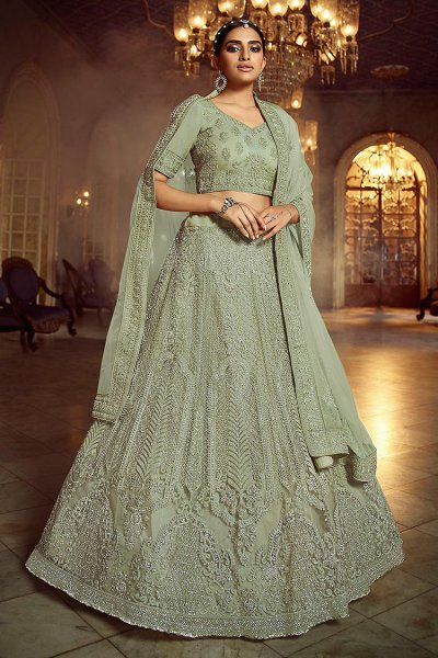 Kiwi Green Resham Embroidered Net Lehenga Choli with Stone Detailing