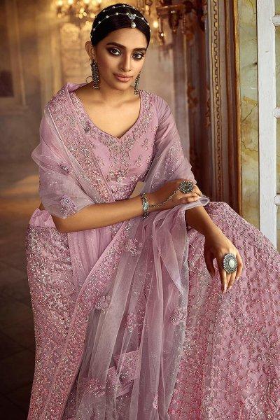 Dusky Pink Resham Embroidered Net Lehenga Choli with Stone Detailing