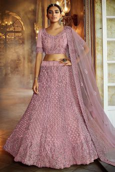 Dusky Pink Resham Embroidered Net Lehenga Choli with Stone Detailing