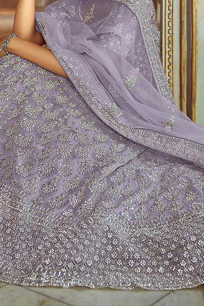 Light Lilac Resham Embroidered Lehenga Choli with Stone Detailing