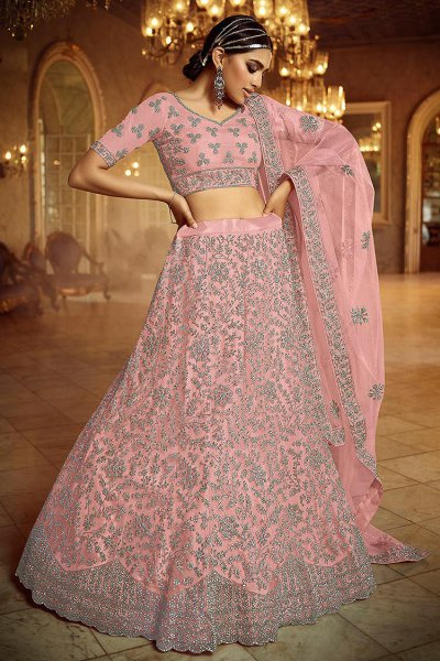 Baby Pink Zarkan Embroidered Net Lehenga Choli with Stone Detailing