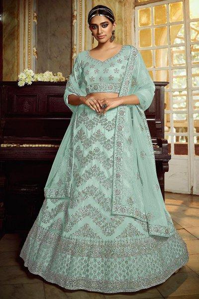 Pastel Turquoise Resham Embroidered Lehenga Choli with Stone Detailing