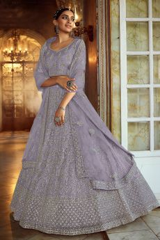 Light Lilac Resham Embroidered Lehenga Choli with Stone Detailing