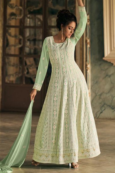 Lucknowi Embroidered Georgette Anarkali Suit
