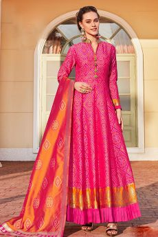 Ready to Wear Jacquard Silk Anarkali Style Dress