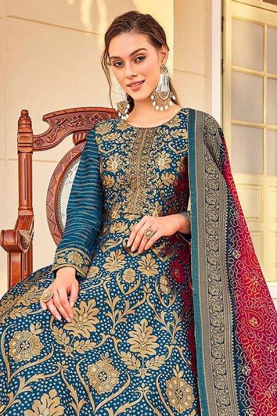 Ready to Wear Jacquard Silk Anarkali Style Dress