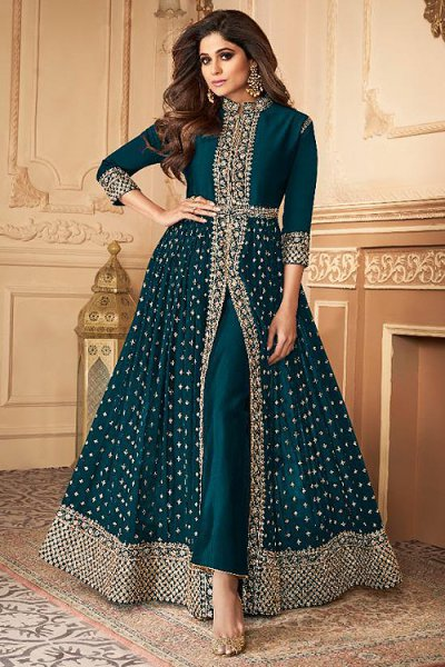Teal Green Zari Embroidered Anarkali Suit in Georgette
