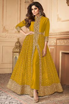 Dark Mustard Zari Embroidered Anarkali Suit in Georgette with Dupatta