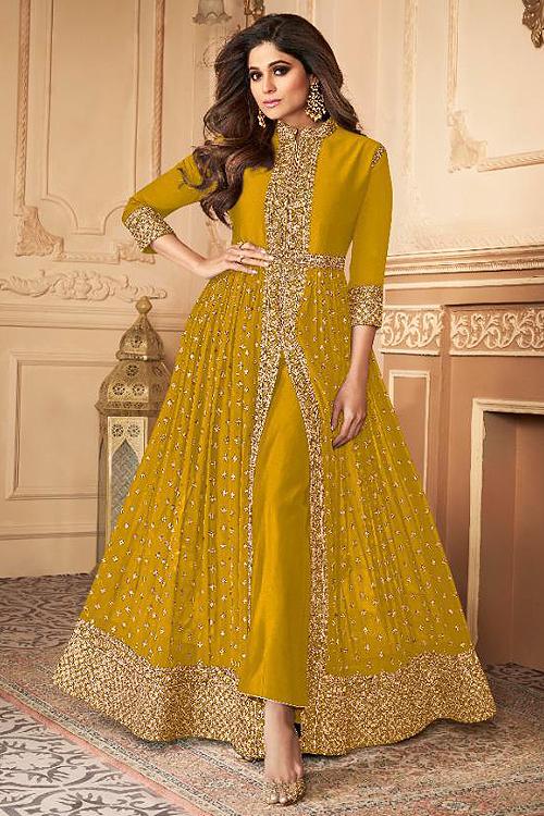 Dark Mustard Zari Embroidered Anarkali Suit in Georgette