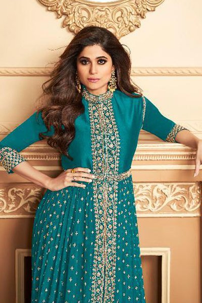 Turquoise Blue Zari Embroidered Anarkali Suit in Georgette