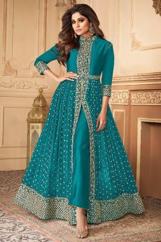 Turquoise Blue Zari Embroidered Anarkali Suit in Georgette with Dupatta