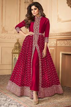 Crimson Zari Embroidered Anarkali Suit in Georgette
