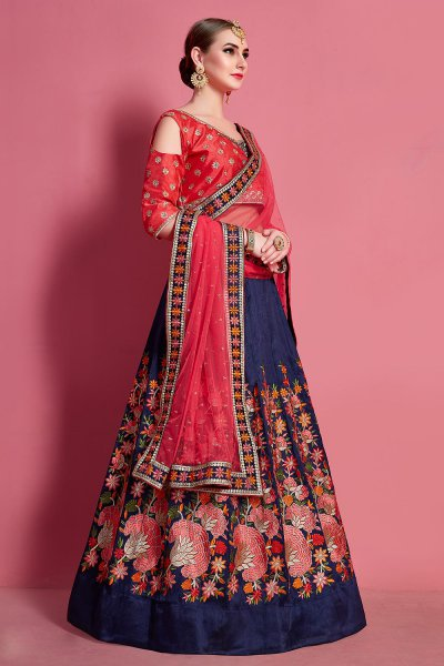 Blue and Red Resham Embroidered Silk Lehenga