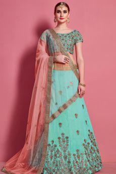 Cyan Zari Embroidered Silk Lehenga Choli with Intricate Embellishments