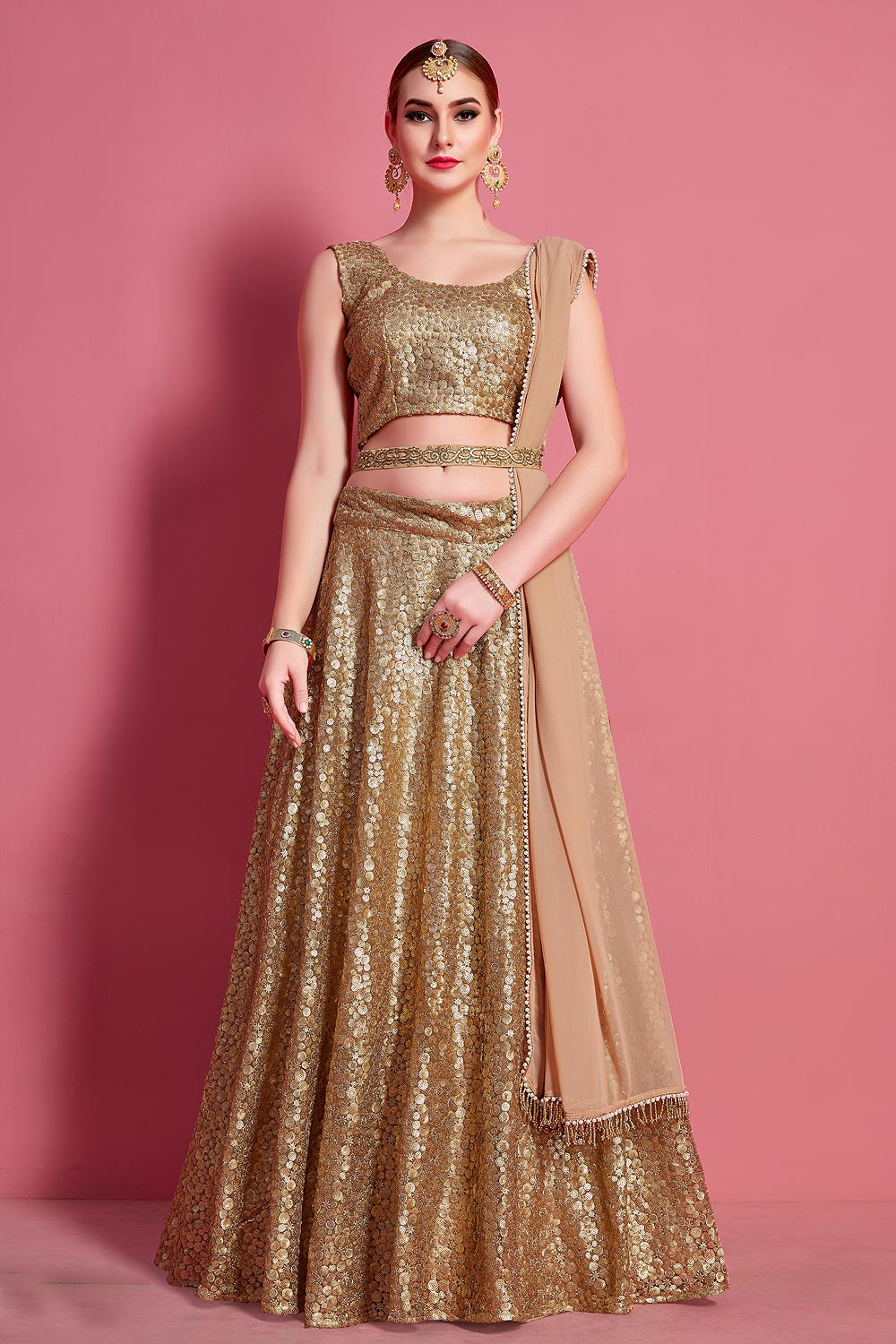 Golden Sequin Embellished Stylish Lehenga Choli in Net