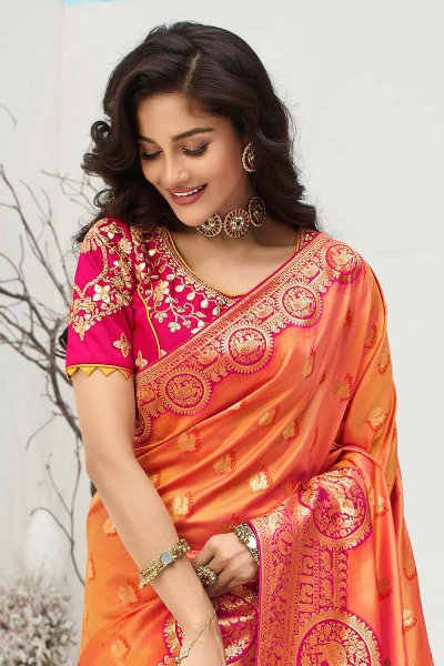 Orange Banarasi Silk Weaved Saree