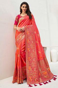 Dark Peach Banarasi Silk Weaved Saree