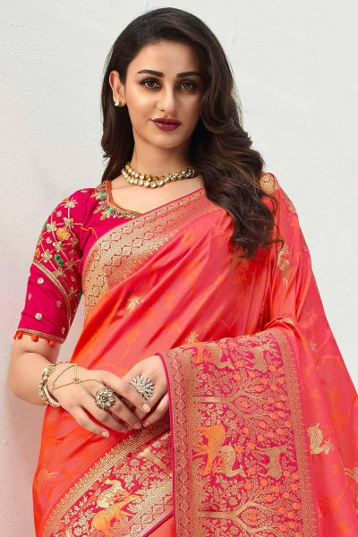 Dark Peach Banarasi Silk Weaved Saree