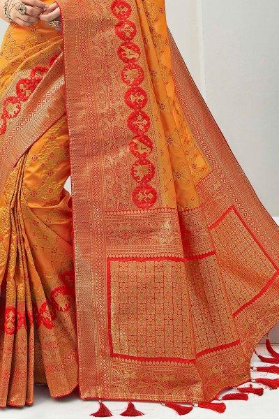 Mustard Banarasi Silk Weaved Saree