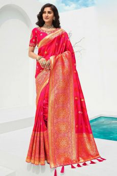 Pink Banarasi Silk Weaved Saree