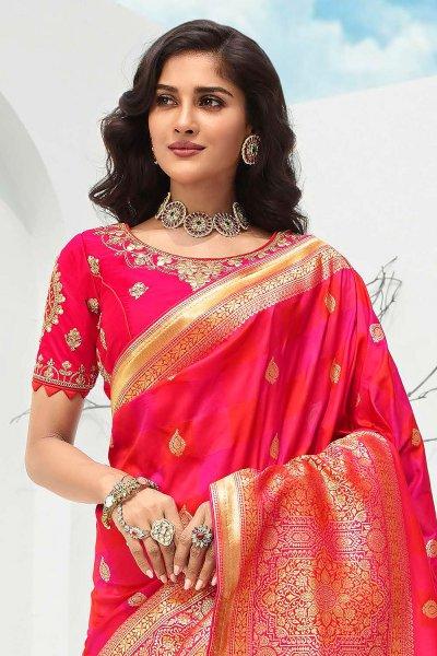 Pink Banarasi Silk Weaved Saree