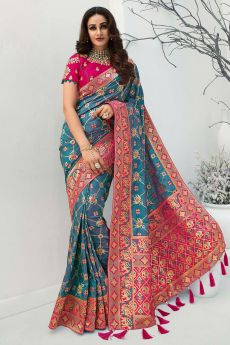 Teal Blue Banarasi Silk Weaved Saree
