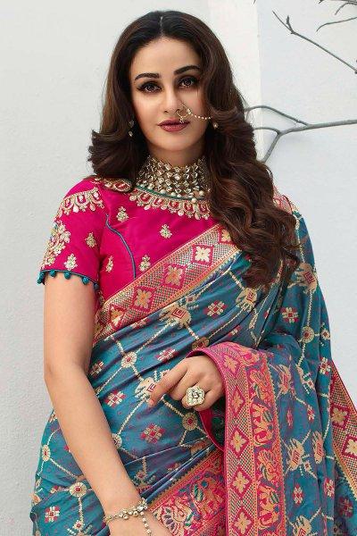 Teal Blue Banarasi Silk Weaved Saree