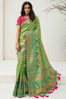 Green Banarasi Silk Weaved Saree