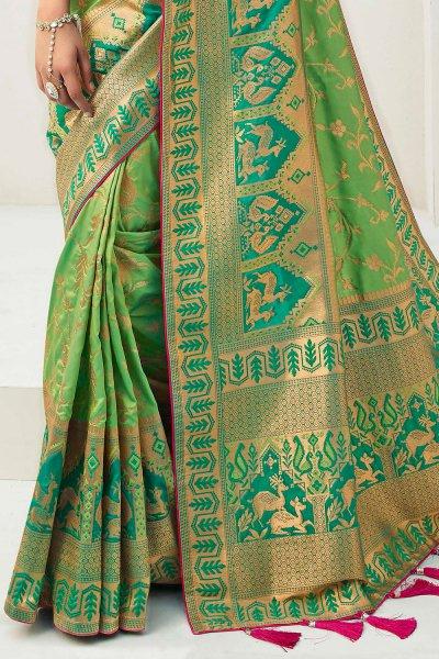 Green Banarasi Silk Weaved Saree