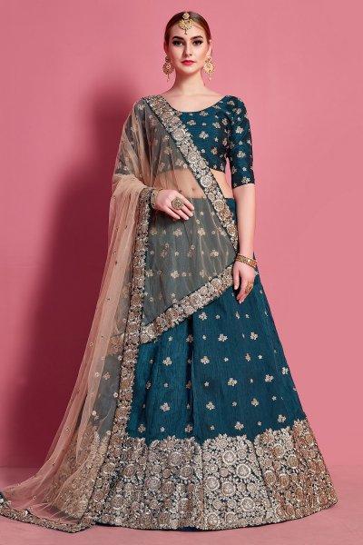Teal Blue Silk Resham Embroidered Lehenga Choli