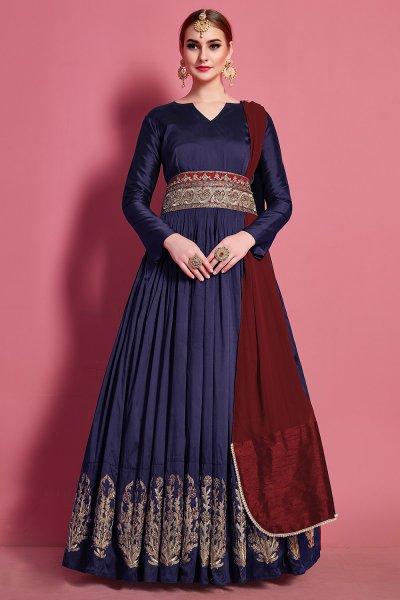 Taffeta Silk Zari Embroidered Anarkali Gown with Chiffon Dupatta
