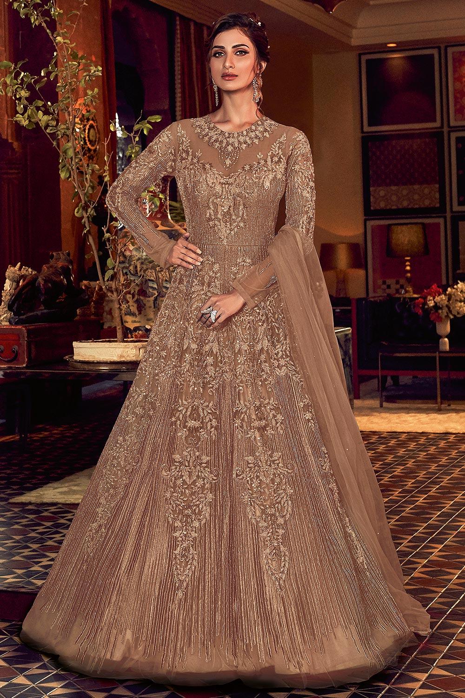 Beige Embellished Indian Designer Suit
