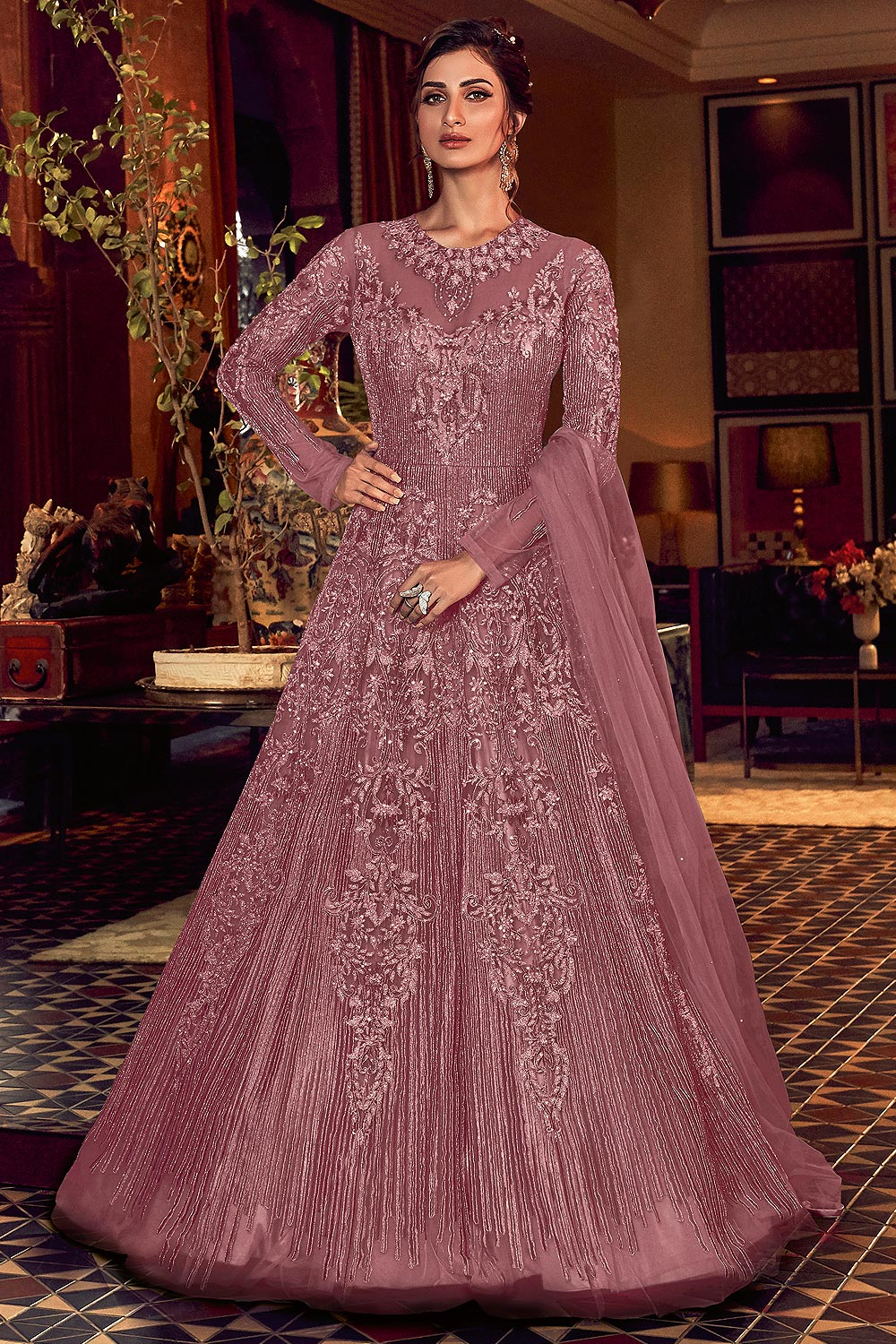 Dusky Pink Embellished Indian Designer Suit