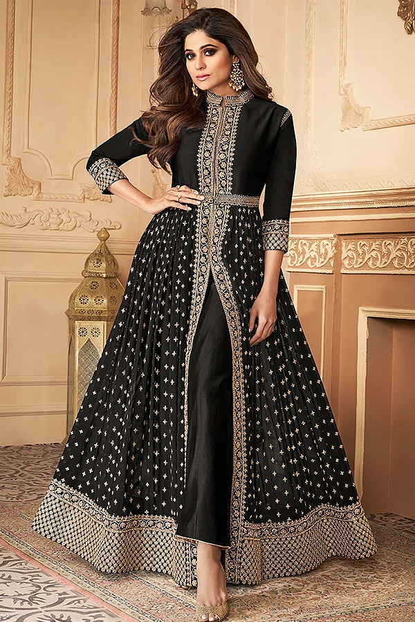 Black Zari Embroidered Anarkali Suit in Georgette with Dupatta