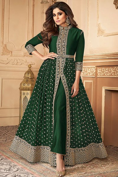 Bottle Green Zari Embroidered Anarkali Suit in Georgette with Dupatta