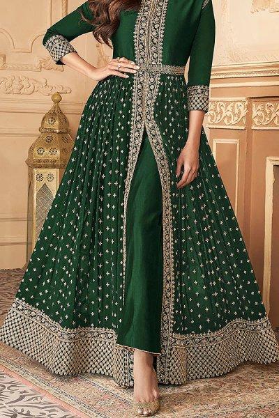Bottle Green Zari Embroidered Anarkali Suit in Georgette with Dupatta